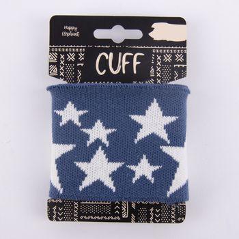 Cuff Bündchen Fertigbündchen Sterne blau weiß 7x110cm – Bild 1