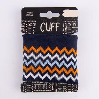 Cuff Bündchen Fertigbündchen Chevron Zacken dunkelblau orange weiß hellblau 7x110cm – Bild 1