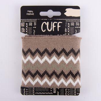 Cuff Bündchen Fertigbündchen Chevron Zacken hellbraun dunkelbraun weiß 7x110cm – Bild 1