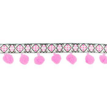 Bommelborte mit Webband Jacquard neon pink weiß schwarz Breite: 3cm