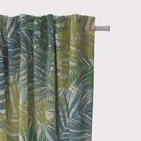 SCHÖNER LEBEN. Vorhang Vorhangschal mit Smok-Schlaufenband Palmenblätter petrol grün Töne 245cm oder Wunschlänge
