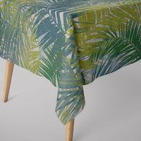 SCHÖNER LEBEN. Tischdecke Palmenblätter petrol grün Töne eckig in verschiedenen Größen