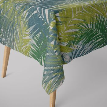 SCHÖNER LEBEN. Tischläufer Palmenblätter petrol grün Töne  40x160cm – Bild 8