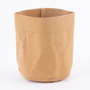 Aufbewahrungskorb rund Craft Paper hellbraun 11x12cm – Bild 1