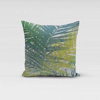 SCHÖNER LEBEN. Kissenhülle Palmenblätter petrol grün Töne 50x50cm – Bild 1