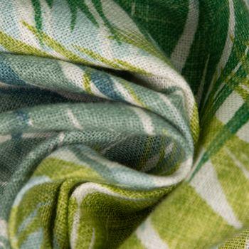 SCHÖNER LEBEN. Kissenhülle Palmenblätter petrol grün Töne 50x50cm – Bild 5