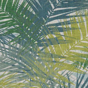 SCHÖNER LEBEN. Kissenhülle Palmenblätter petrol grün Töne 50x50cm – Bild 2