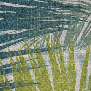 SCHÖNER LEBEN. Kissenhülle Palmenblätter petrol grün Töne 50x50cm – Bild 3