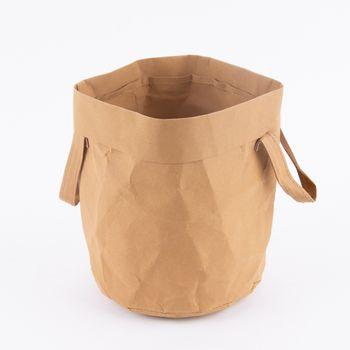 Aufbewahrungskorb mit Henkel rund Craft Paper hellbraun 19,5x20cm – Bild 4