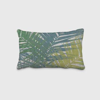 SCHÖNER LEBEN. Kissenhülle Palmenblätter petrol grün Töne 30x50cm – Bild 1