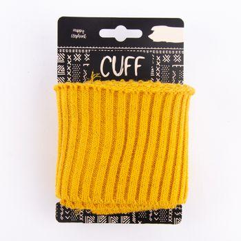 Cuff Bündchen Fertigbündchen Grobstrick Glitzer einfarbig ocker gelb 7x110cm – Bild 1