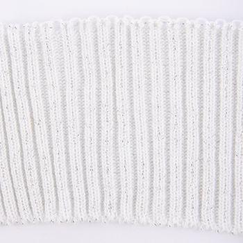 Cuff Bündchen Fertigbündchen Grobstrick Glitzer einfarbig weiß 7x110cm – Bild 3