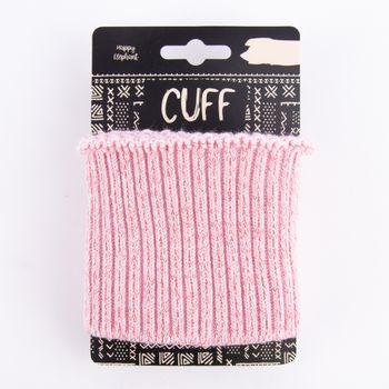 Cuff Bündchen Fertigbündchen Grobstrick Glitzer einfarbig rosa pink 7x110cm – Bild 1