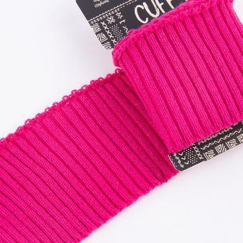 Cuff Bündchen Fertigbündchen Grobstrick Glitzer einfarbig pink 7x110cm – Bild 2
