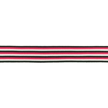Hosenband Polyester leicht elastisch Streifen schwarz weiß pink Breite: 3cm
