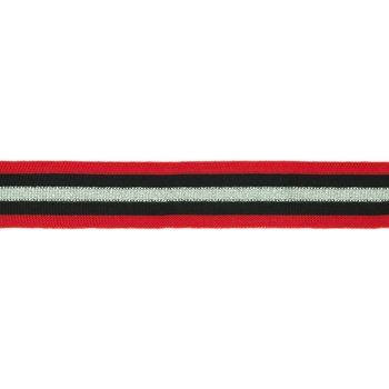 Hosenband Polyester leicht elastisch Streifen Glitzer rot schwarz silberfarbig Breite: 3cm