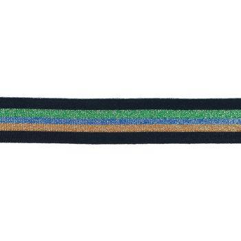 Hosenband Polyester leicht elastisch Streifen Glitzer schwarz grün blau braun Breite: 3cm