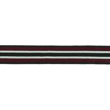 Hosenband Polyester leicht elastisch Streifen Glitzer schwarz dunkelrot silberfarbig Breite: 3cm