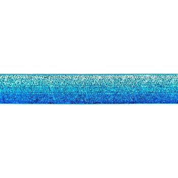 Band Glitzer Farbverlauf silberfarbig blau grün Breite: 2,5cm