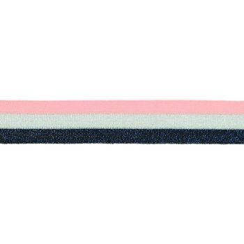 Hosenband Polyester leicht elastisch Streifen Glitzer rosa silberfarbig dunkelblau Breite: 3cm