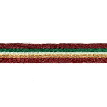 Hosenband Polyester leicht elastisch Streifen Glitzer rot grün weiß goldfarbig Breite: 3cm