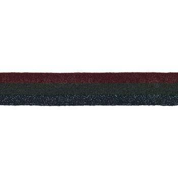 Hosenband Polyester leicht elastisch Streifen Glitzer rot schwarz blau Breite: 3cm