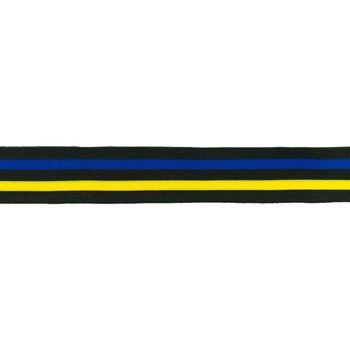 Hosenband Polyester leicht elastisch Streifen schwarz blau gelb Breite: 3cm