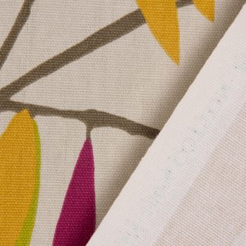 SCHÖNER LEBEN. Vorhang Vorhangschal mit Smok-Schlaufenband beige mit Blätter braun grün rot 245cm oder Wunschlänge – Bild 5