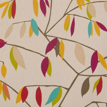 SCHÖNER LEBEN. Vorhang Vorhangschal mit Smok-Schlaufenband beige mit Blätter braun grün rot 245cm oder Wunschlänge – Bild 2