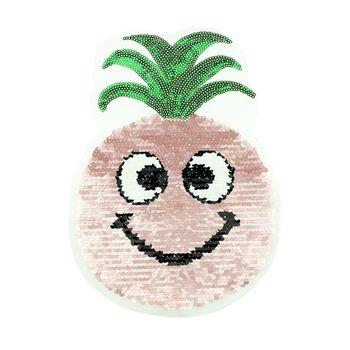 Applikationen Aufnäher Wendepailletten Ananas rosa silberfarbig grün 18x25cm – Bild 1