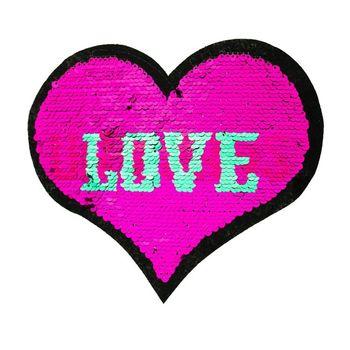 Applikationen Aufnäher Wendepailletten Herz LOVE UNICORNS pink türkis 19x16cm – Bild 1