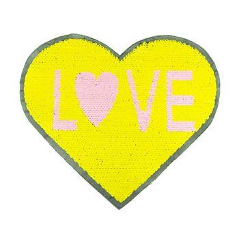 Applikationen Aufnäher Wendepailletten Herz LOVE gelb rosa weiß goldfarbig 23x20cm – Bild 1