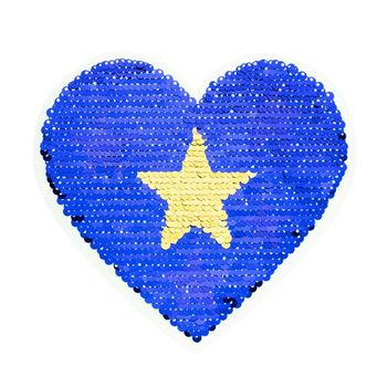 Applikationen Aufnäher Wendepailletten Herz Sterne blau silberfarbig 16x15cm – Bild 1