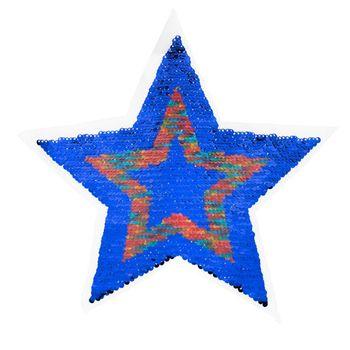Applikationen Aufnäher Wendepailletten STERN blau rot 26x26cm – Bild 1