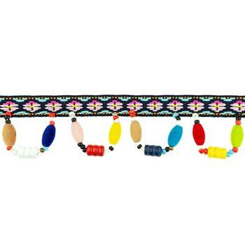 Band Webband Inka mit hängenden Perlen Kunststoff bunt Breite: 3cm