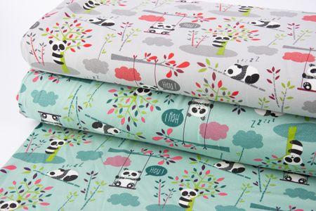 Baumwolljersey Jersey Pandas Schaukel Bäume grau grün rot 1,65m Breite – Bild 6