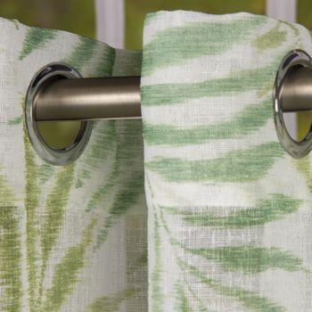 Fertiggardine Ösengardine Leinenstruktur Plamenblätter weiß grün 140x260cm – Bild 2