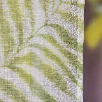 Fertiggardine Ösengardine Leinenstruktur Plamenblätter weiß grün 140x260cm – Bild 4
