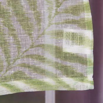 Fertiggardine Ösengardine Leinenstruktur Plamenblätter weiß grün 140x260cm – Bild 6