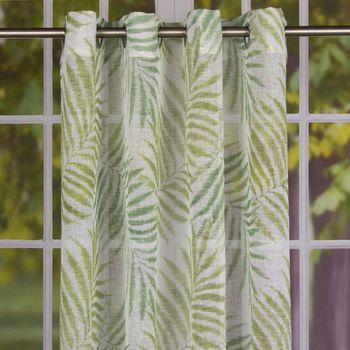 Fertiggardine Ösengardine Leinenstruktur Palmenblätter weiß grün 140x260cm – Bild 1