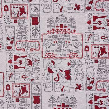 Dekostoff Baumwollstoff Weihnachten Schneemann Weihnachtsmann Rentiere creme grau rot 1,4m Breite – Bild 1
