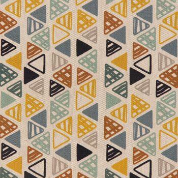 Dekostoff Baumwollstoff Dreiecke in Reihen beige petrol ocker schwarz 1,4m Breite – Bild 1
