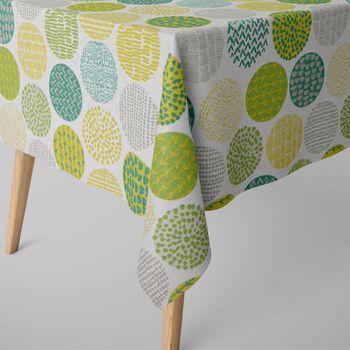 SCHÖNER LEBEN. Tischdecke creme Kreise grün taupe Tönen eckig in verschiedenen Größen – Bild 1