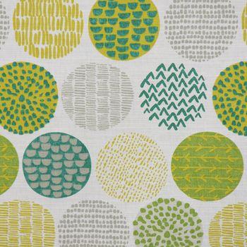 SCHÖNER LEBEN. Kissenhülle creme Kreise in grün taupe 50x50cm – Bild 3