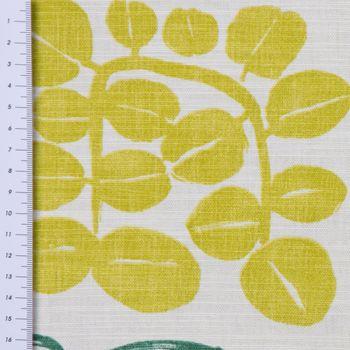 SCHÖNER LEBEN. Vorhang Vorhangschal mit Smok-Schlaufenband creme mit Blätter in grün Tönen 245cm oder Wunschlänge – Bild 4