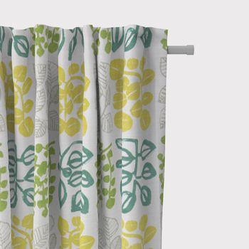 SCHÖNER LEBEN. Vorhang Vorhangschal mit Smok-Schlaufenband creme mit Blätter in grün Tönen 245cm oder Wunschlänge – Bild 1