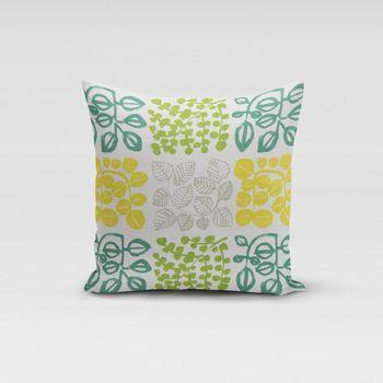 SCHÖNER LEBEN. Kissenhülle creme mit Blätter in grün Tönen 50x50cm – Bild 1