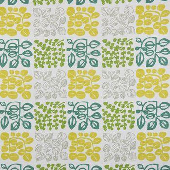 SCHÖNER LEBEN. Kissenhülle creme mit Blätter in grün Tönen 50x50cm – Bild 2