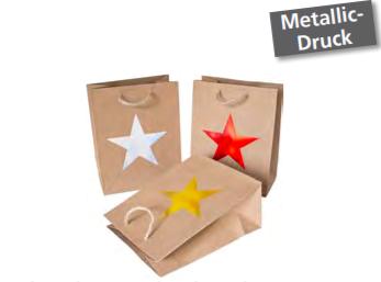 Geschenktasche Weihnachten natur mit Stern Metallic-Druck 18x23x10cm