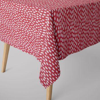 SCHÖNER LEBEN. Tischdecke rot mit Kleksen Tropfen eckig in verschiedenen Größen – Bild 1